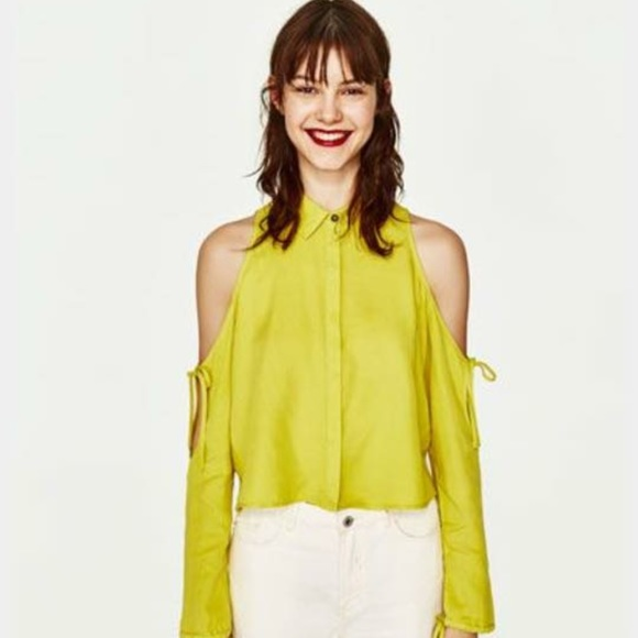 c7acf998216612 NWT Zara lime green cold shoulder shirt -- XL